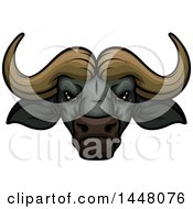 Clipart Of A Vicious Water Buffalo Mascot Face Royalty Free Vector Illustration