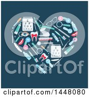 Heart Formed Of Dental And Optometry Icons On Teal
