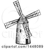 Black And White Sketched Windmill