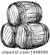Clipart Of Black And White Sketched Beer Keg Barrels Royalty Free Vector Illustration by Vector Tradition SM