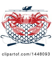Clipart Of A Red Crab On A Navy Blue Net Under A Boat With Hooks Royalty Free Vector Illustration