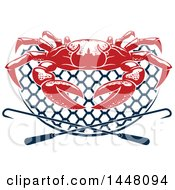 Clipart Of A Red Crab On A Navy Blue Net With Hooks Royalty Free Vector Illustration