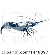 Clipart Of A Navy Blue Shrimp Royalty Free Vector Illustration by Vector Tradition SM