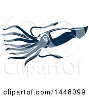 Clipart Of A Navy Blue Squid Royalty Free Vector Illustration by Vector Tradition SM