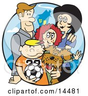 Happy Family Of Four With A Dog And A Soccer Ball Clipart Illustration by Andy Nortnik