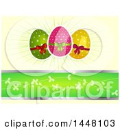 Polka Dot Easter Eggs With Bows Over Rays And A Green Banner