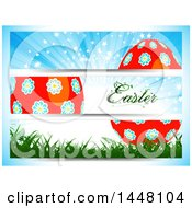 Floral Easter Egg Banners On A Gradient Background