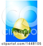 Speckled Easter Egg With A Green Banner Over Blue