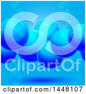 Clipart Of A Background Of 3d Blue Bubbles Or Spheres Royalty Free Vector Illustration
