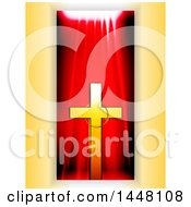 Gold Cross With A Ring Over A Red Drape Panel On Yellow
