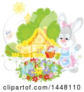 Happy Female Bunny Rabbit Watering A Flower Garden On A Spring Day