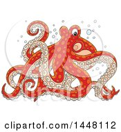 Cartoon Red Octopus Walking On Its Tentacles