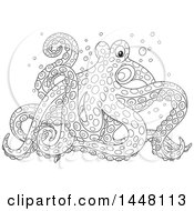 Cartoon Black And White Lineart Octopus Walking On Its Tentacles