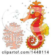 Cartoon Cute Red Seahorse By Coral