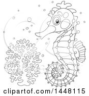 Cartoon Black And White Lineart Cute Seahorse By Coral