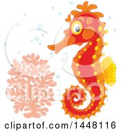 Adorable Red Seahorse By Coral