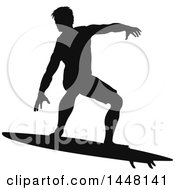 Clipart Of A Black Silhouetted Man Surfing Royalty Free Vector Illustration by AtStockIllustration