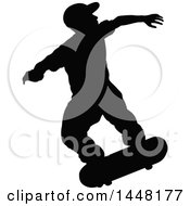Black Silhouetted Man Skateboarding