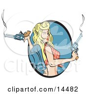 Beautiful Cowgirl With Blond Hair Wearing A Short Shirt And Blue Cowboy Hat And Holding Two Smoking Pistils
