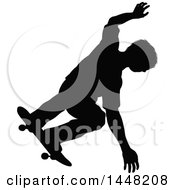 Clipart Of A Black Silhouetted Man Skateboarding Royalty Free Vector Illustration by AtStockIllustration