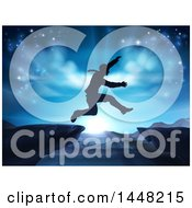 Clipart Of A Silhouetted Business Man Leaping A Mountainous Gap Over A Blue Sunrise Royalty Free Vector Illustration