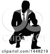 Black And White Silhouetted Business Man Crouching