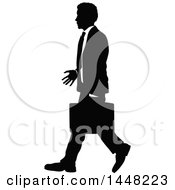 Black And White Silhouetted Business Man Walking