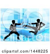 Clipart Of Black And White Silhouetted Business Men Fighting Over Blocks On Blue Royalty Free Vector Illustration by AtStockIllustration