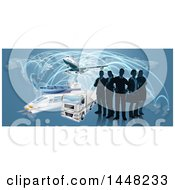 Clipart Of A Silhouetted Logistics Business Team Standing Over A Map With A Plane Truck Train And Ship Royalty Free Vector Illustration