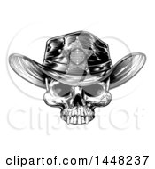 Clipart Of A Black And White Vintage Engraved Cowboy Skull Wearing A Sheriff Hat Royalty Free Vector Illustration