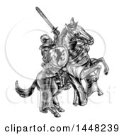 Clipart Of A Black And White Etched Or Woodcut Medieval Knight On A Horse Holding A Sword And Shield Royalty Free Vector Illustration