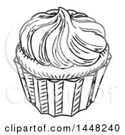 Clipart Of A Black And White Vintage Engraved Cupcake Royalty Free Vector Illustration