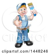 Clipart Of A Cartoon Full Length Happy White Male Painter Holding Up A Brush And Giving A Thumb Up Royalty Free Vector Illustration by AtStockIllustration