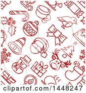 Seamless Red And White Christmas Icon Pattern Background