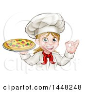 Clipart Of A Cartoon Happy White Female Chef Gesturing Perfect And Holding A Pizza Royalty Free Vector Illustration