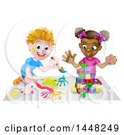 Poster, Art Print Of Cartoon Happy Black Girl Playing With Toy Blocks And White Boy Painting