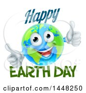 Clipart Of A Happy Globe Mascot Giving Two Thumbs Up With Happy Earth Day Text Royalty Free Vector Illustration
