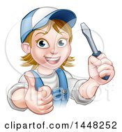Clipart Of A Cartoon Happy White Female Electrician Wearing A Cap Holding Up A Screwdriver And Giving A Thumb Up Royalty Free Vector Illustration by AtStockIllustration