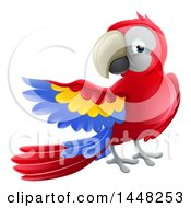 Clipart Of A Scarlet Macaw Parrot Presenting To The Left Royalty Free Vector Illustration