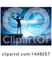Clipart Of A Silhouetted Man In Worship On A Cliff Holding His Arms Up To A Blue Sky Over Mountains Royalty Free Vector Illustration