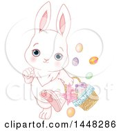 Cute Easter Bunny Rabbit Walking With A Basket And Eggs Falling Out