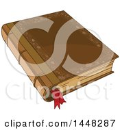 Clipart Of A Fairy Tale Book With A Ribbon Bookmark Royalty Free Vector Illustration