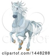Clipart Of A Running Gray Horse Royalty Free Vector Illustration
