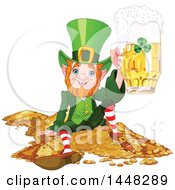 Clipart Of A St Patricks Day Leprechaun Holding Up A Beer Mug And Sitting On A Pile Of Gold Royalty Free Vector Illustration