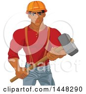 Clipart Of A Strong Black Male Demolition Worker Holding A Hammer Royalty Free Vector Illustration