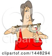 Cartoon White Woman Aiming A Sling Shot
