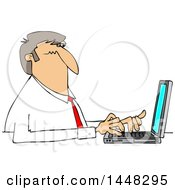 Cartoon White Business Man Typing On A Laptop Computer
