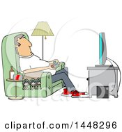 Clipart Of A Cartoon Caucasian Man Paying Video Games In His Living Room Royalty Free Vector Illustration by djart