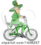 Clipart Of A Cartoon St Patricks Day Leprechaun Riding A Bicycle Royalty Free Vector Illustration