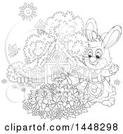 Clipart Of A Cartoon Black And White Lineart Female Bunny Rabbit Watering A Flower Garden On A Spring Day Royalty Free Vector Illustration
